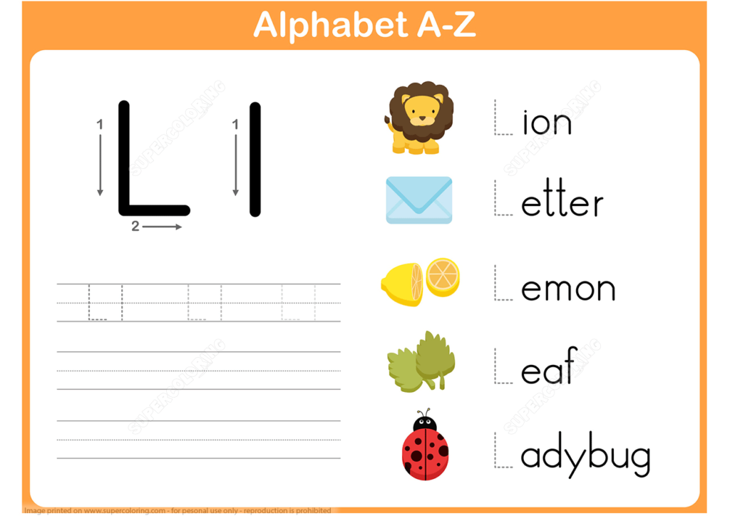 Letter L Tracing Worksheet | Free Printable Puzzle Games