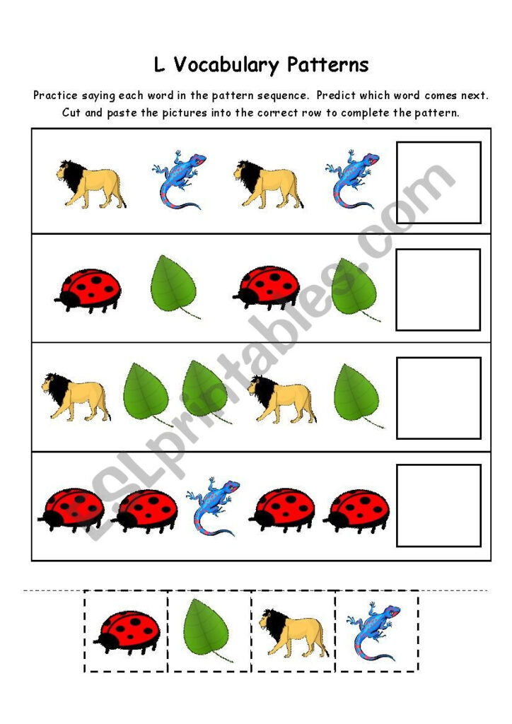 Letter L Vocabulary Patterns   Esl Worksheet1Consumed Pertaining To Letter L Worksheets Cut And Paste