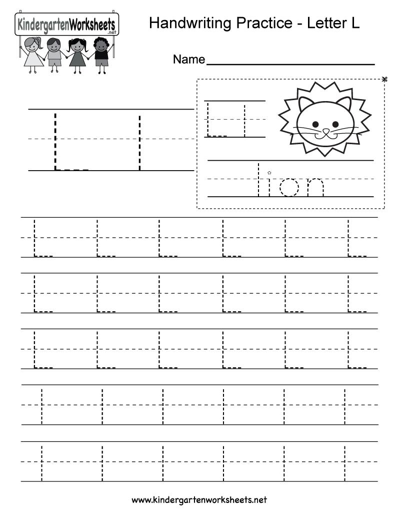Letter L Writing Practice Worksheet - Free Kindergarten inside Letter Ll Worksheets For Kindergarten