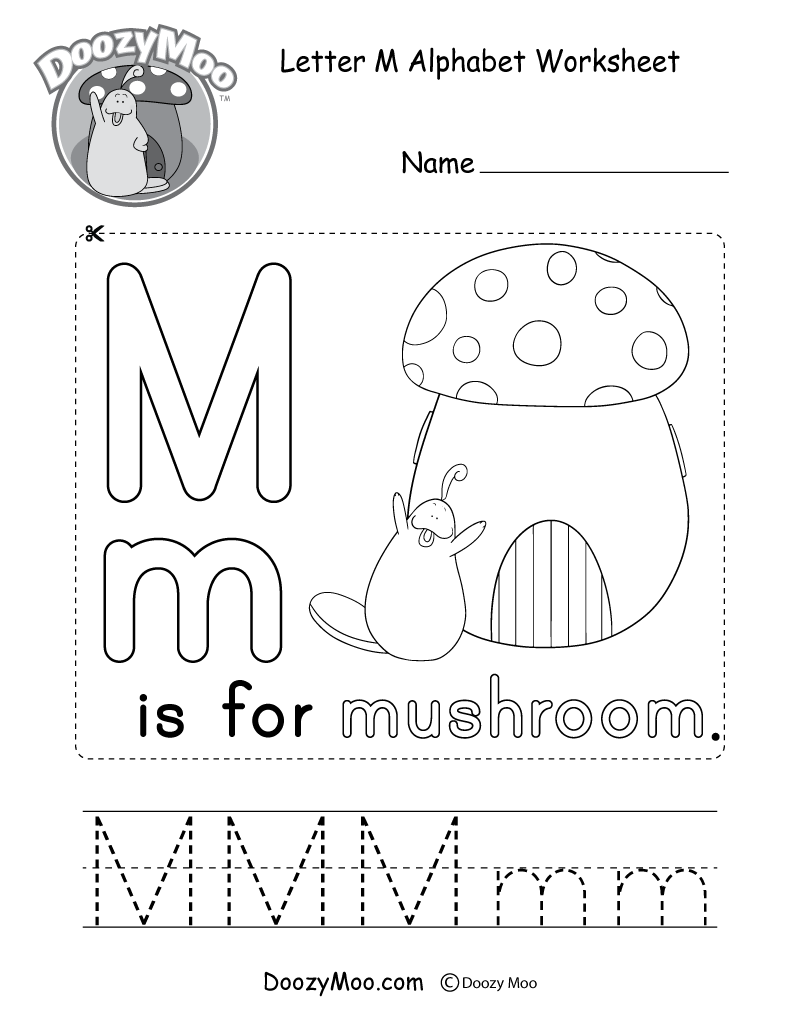 Letter M Alphabet Activity Worksheet - Doozy Moo within Letter M Worksheets For Kindergarten Free
