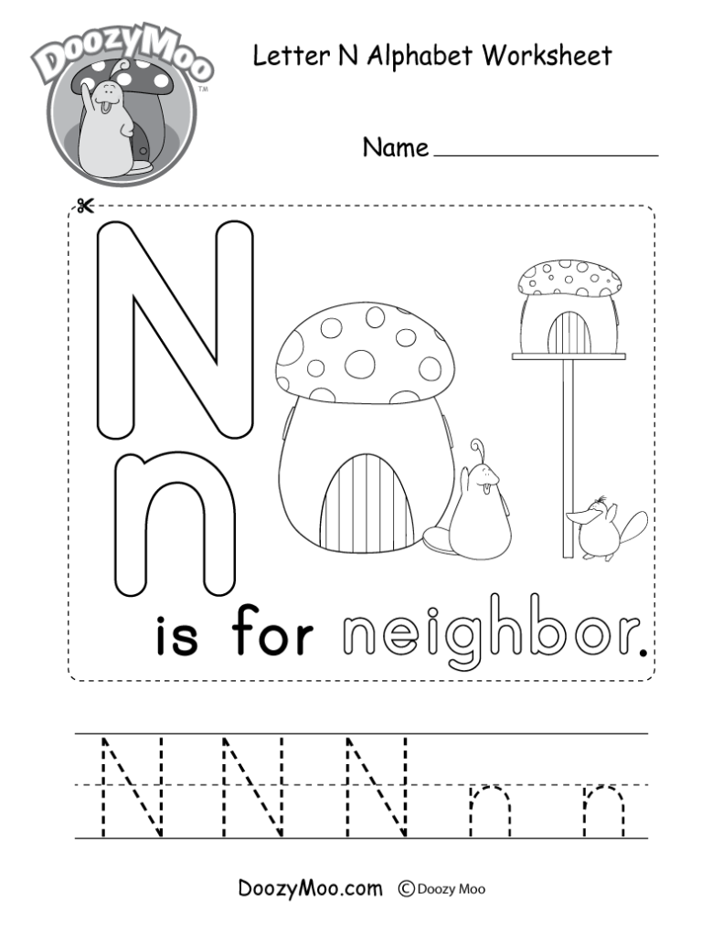 Letter N Alphabet Activity Worksheet   Doozy Moo Pertaining To Letter N Worksheets Pdf