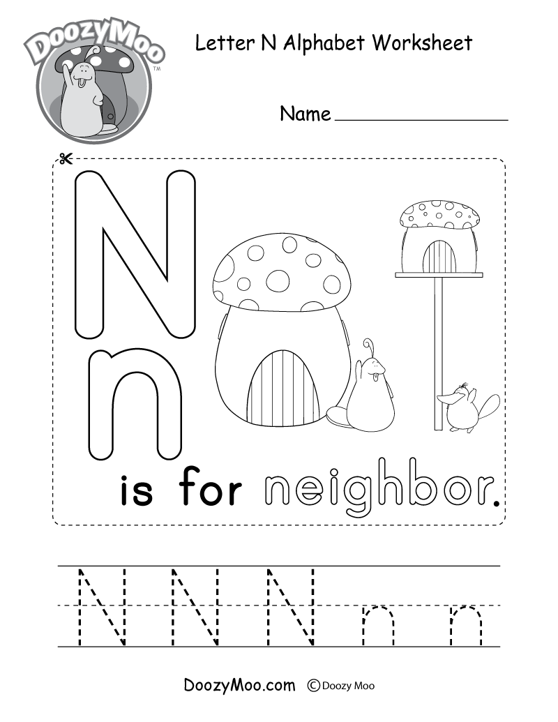 Letter N Alphabet Activity Worksheet - Doozy Moo pertaining to Letter N Worksheets Pdf