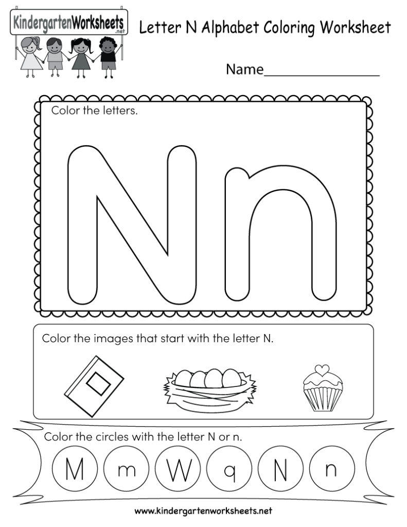 Letter N Coloring Worksheet   Free Kindergarten English Pertaining To Letter N Worksheets Pdf