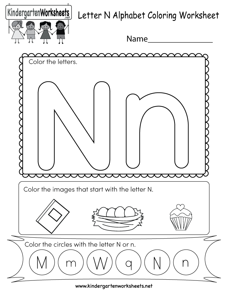 Letter N Coloring Worksheet - Free Kindergarten English pertaining to Letter N Worksheets Pdf