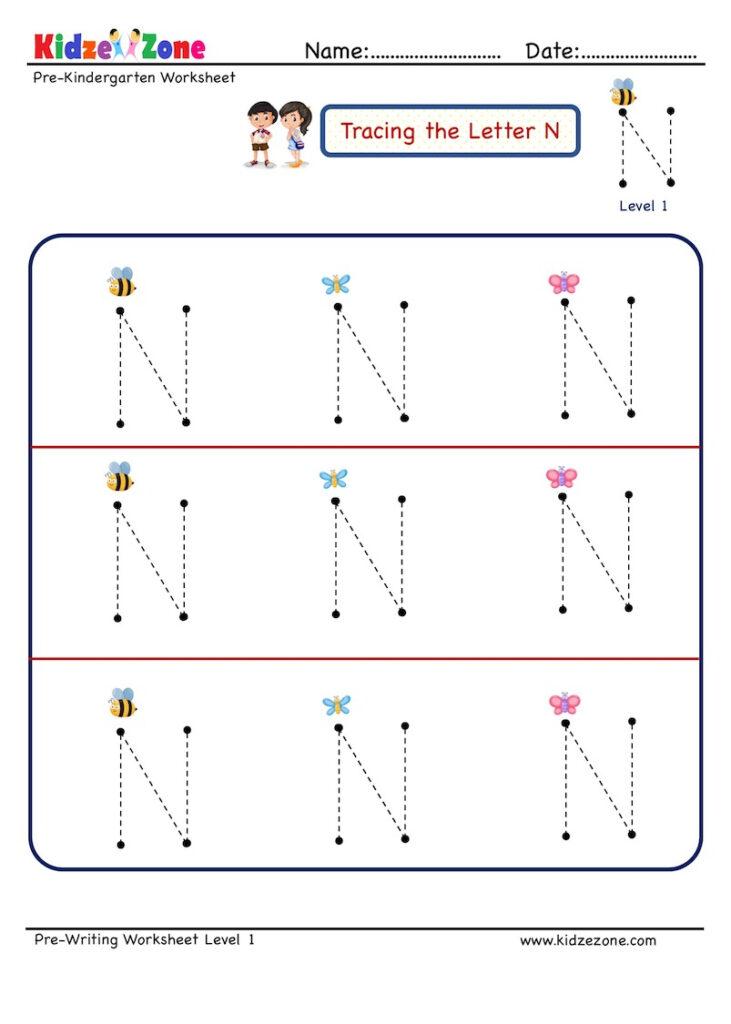 Letter N Tracing Worksheet   Kidzezone For Letter N Tracing Printable