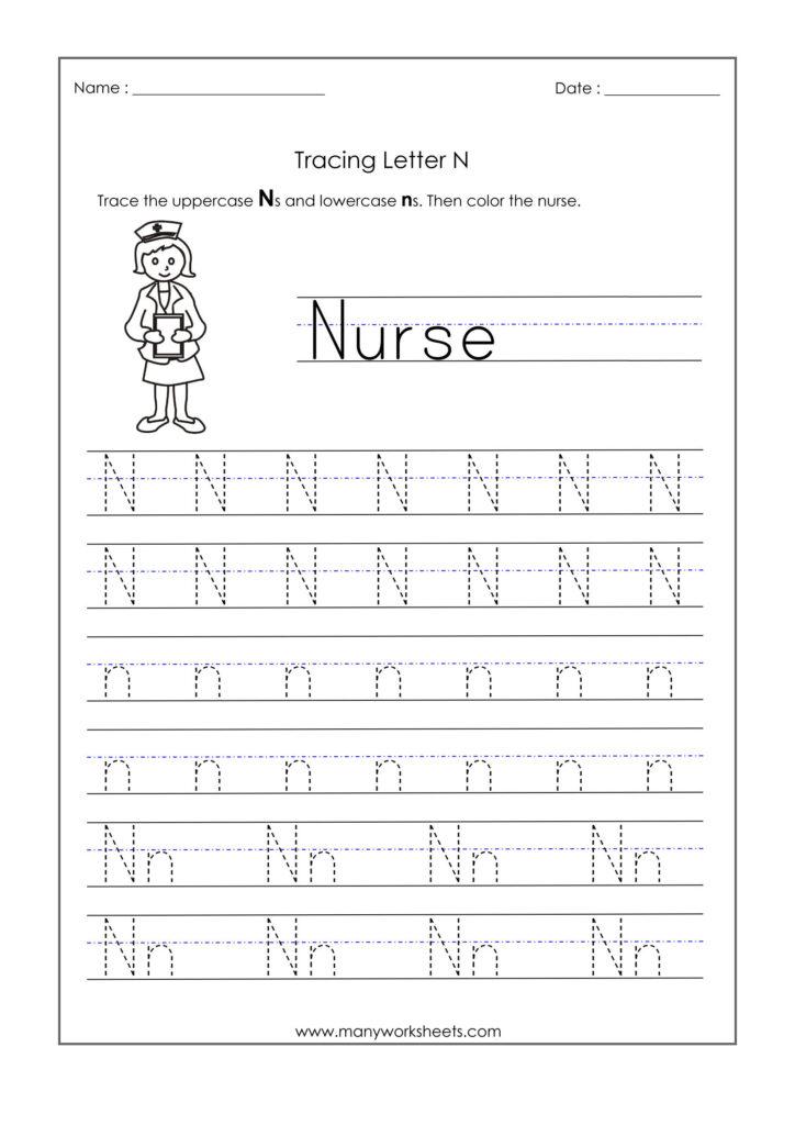 Letter N Worksheets For Kindergarten – Trace Dotted Letters In Letter N Tracing Printable