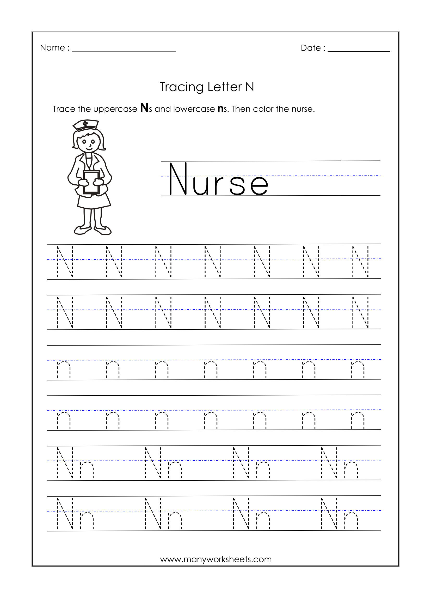 Letter N Worksheets For Kindergarten – Trace Dotted Letters in Letter N Tracing Printable