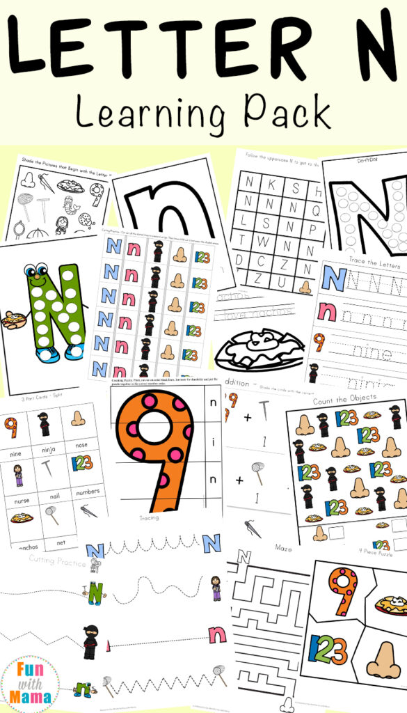 Letter N Worksheets   Fun With Mama Intended For Letter N Worksheets Pdf