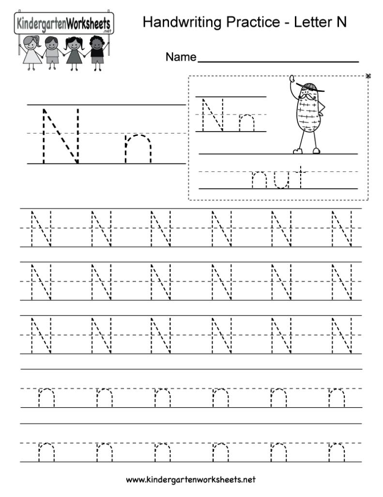 Letter N Writing Practice Worksheet   Free Kindergarten Inside Letter N Tracing Printable