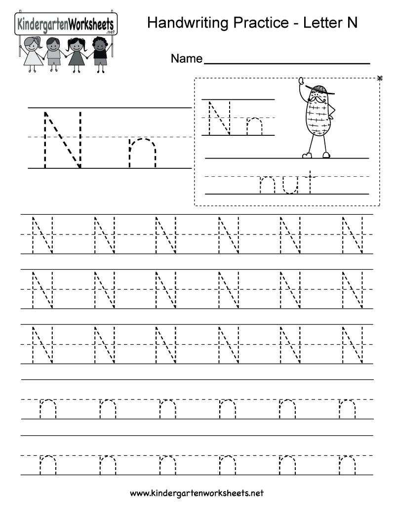 Letter N Writing Practice Worksheet - Free Kindergarten inside Letter N Tracing Printable
