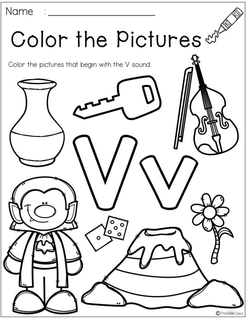 Letter Of The Week Crafts Worksheets For Kindergarten Regarding Letter V Worksheets For First Grade