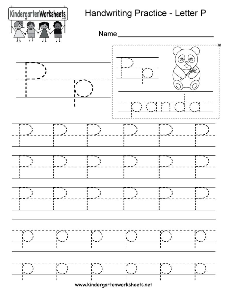 Letter P Writing Practice Worksheet   Free Kindergarten With Regard To Letter P Tracing Worksheets For Preschool
