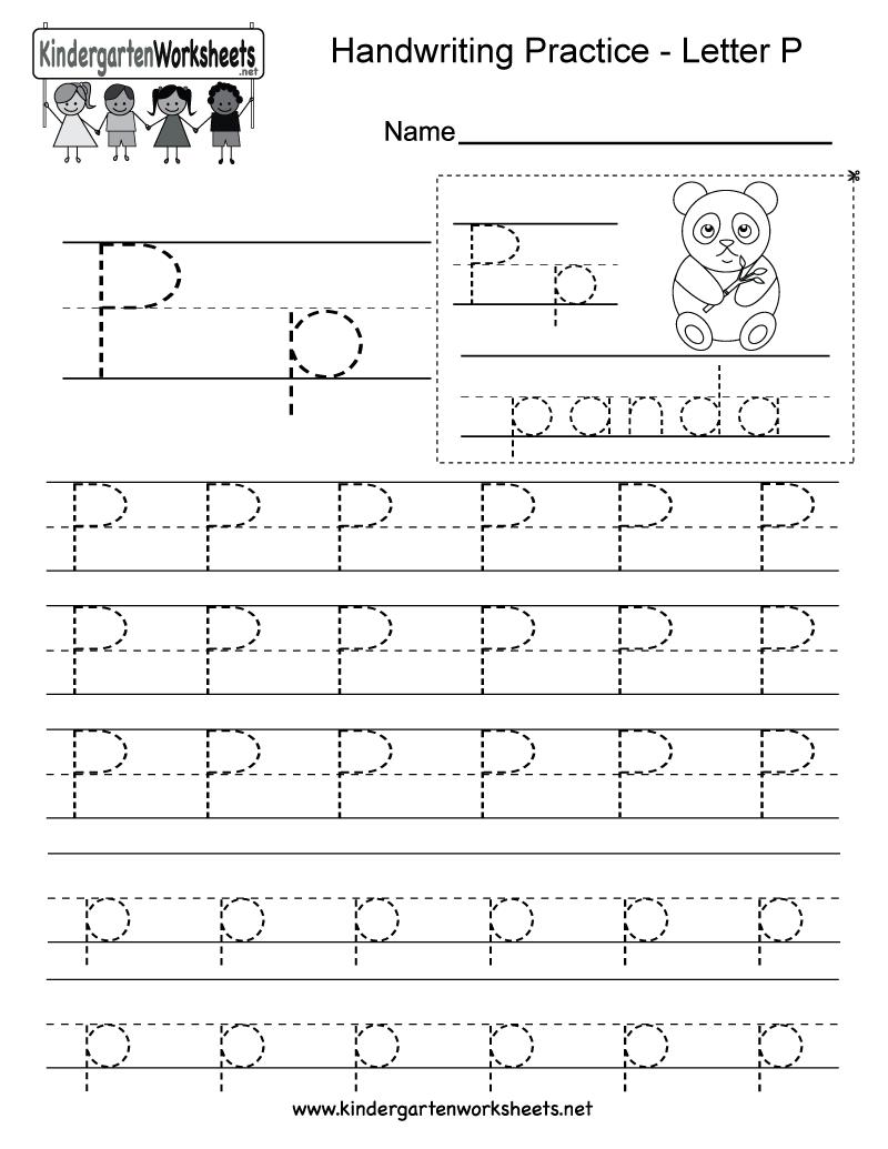 Letter P Writing Practice Worksheet - Free Kindergarten with regard to Letter P Tracing Worksheets For Preschool