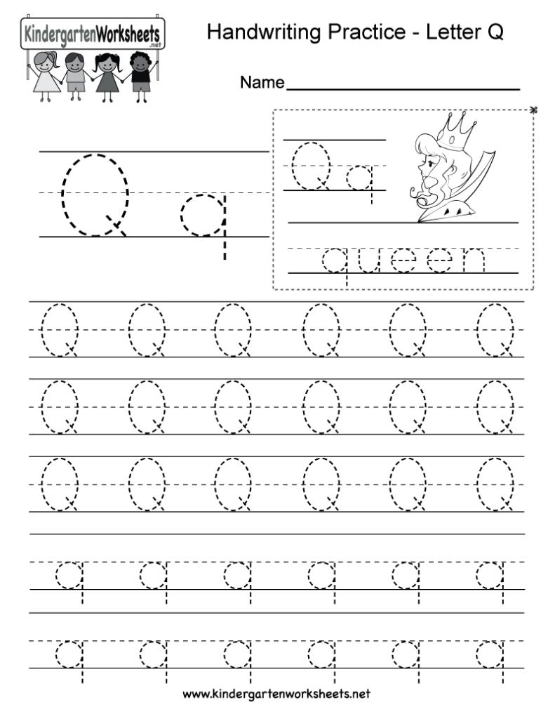 Letter Q Writing Practice Worksheet   Free Kindergarten