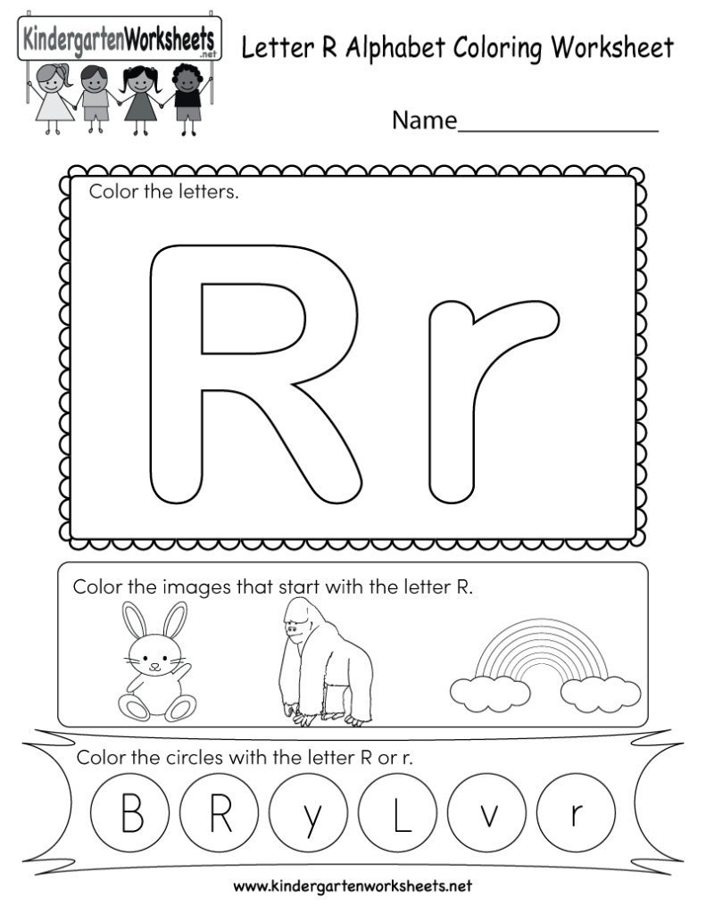 Letter R Coloring Worksheet   Free Kindergarten English Within Alphabet R Worksheets