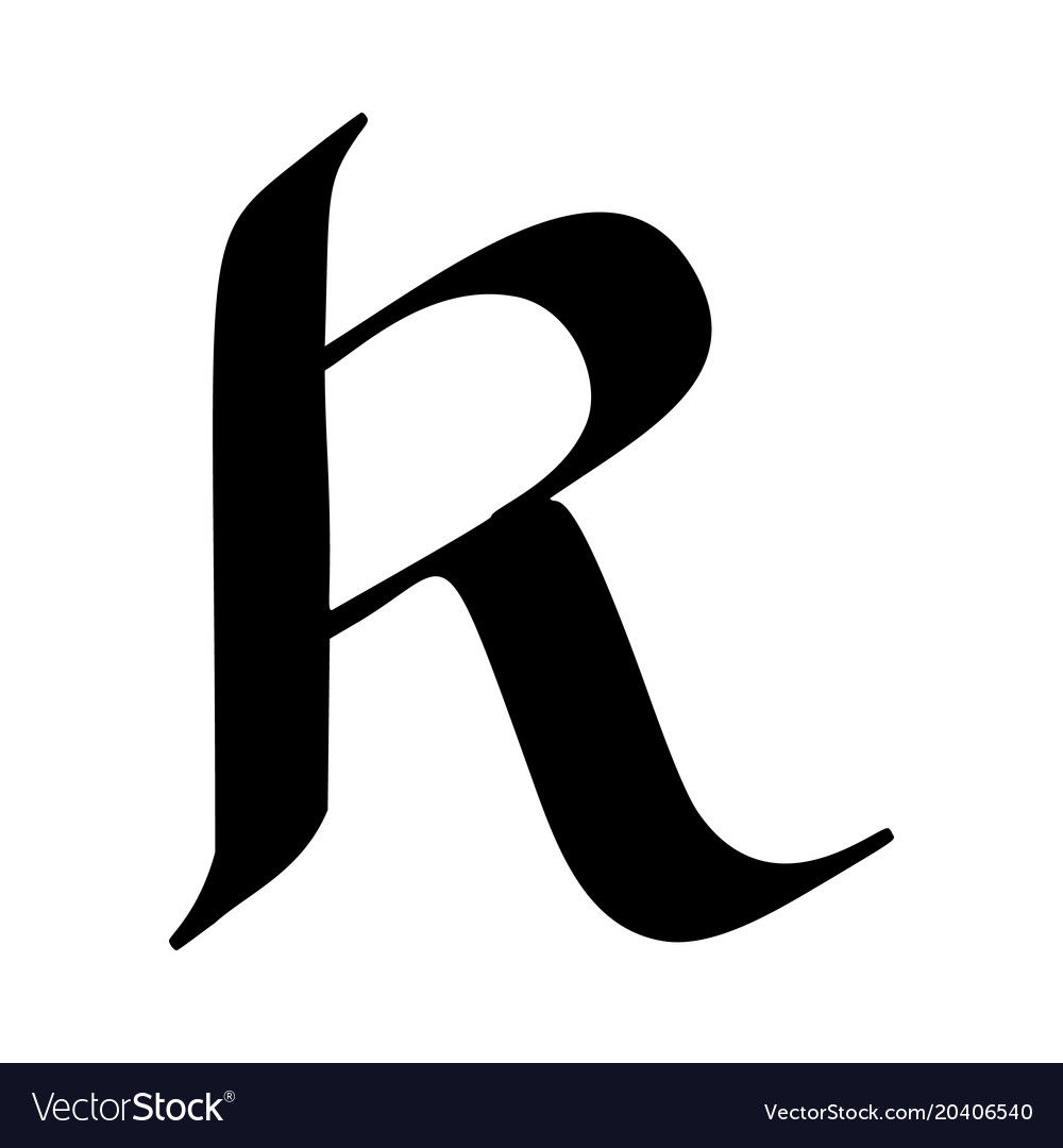 Letter R Painted Brush Vector Image