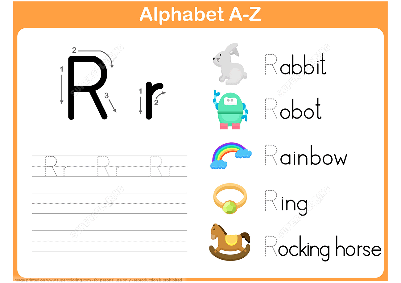 Letter R Tracing Worksheet | Free Printable Puzzle Games in Letter R Tracing Sheets