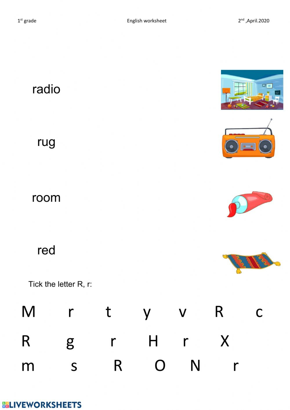 Letter R Worksheet - Interactive Worksheet in Letter Writing Worksheets For Grade 4