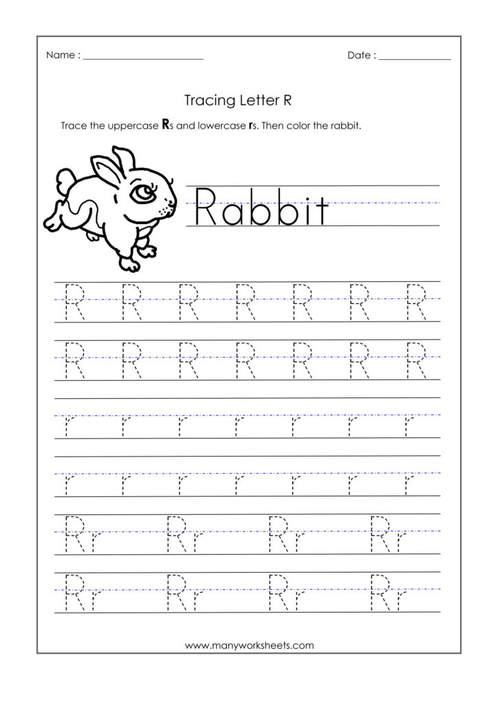Letter R Worksheets For Kindergarten – Trace Dotted Letters Intended For Letter R Tracing Paper