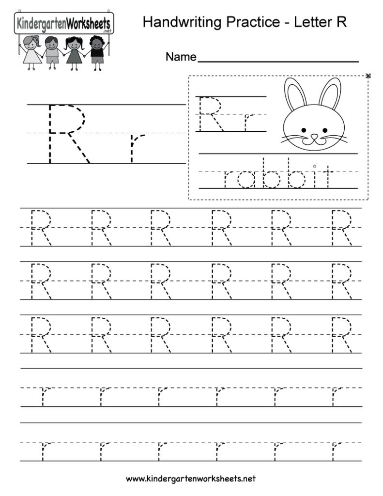 Letter R Writing Practice Worksheet   Free Kindergarten