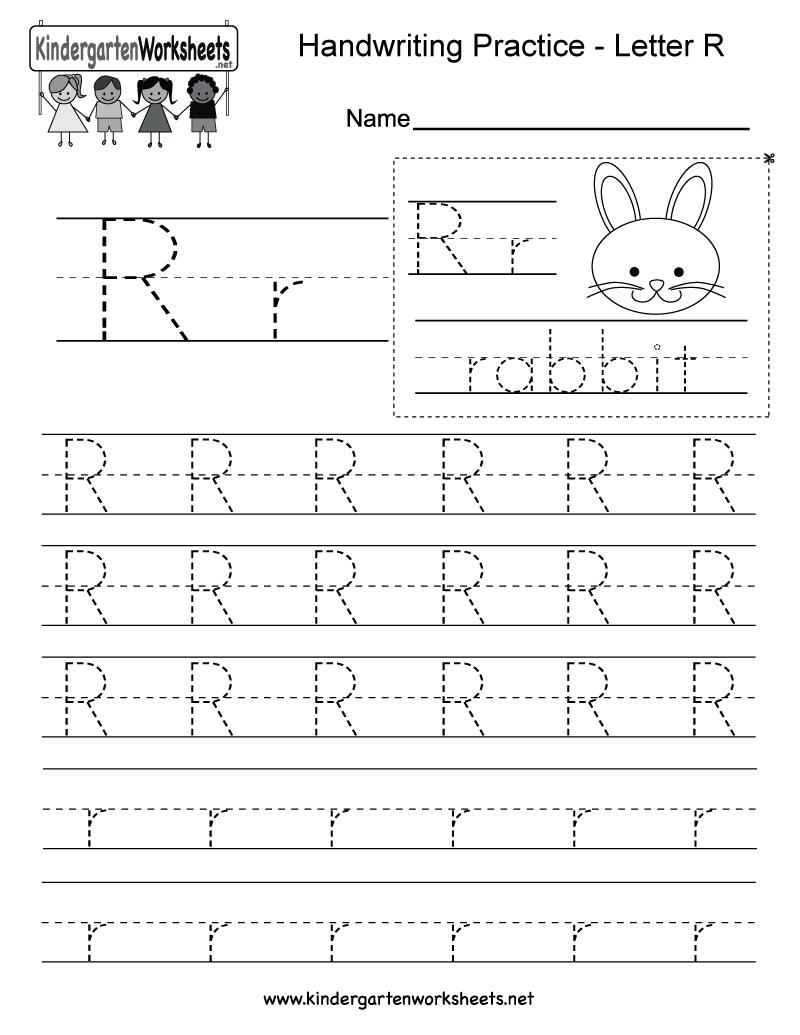 Letter R Writing Practice Worksheet - Free Kindergarten for Letter R Tracing Preschool