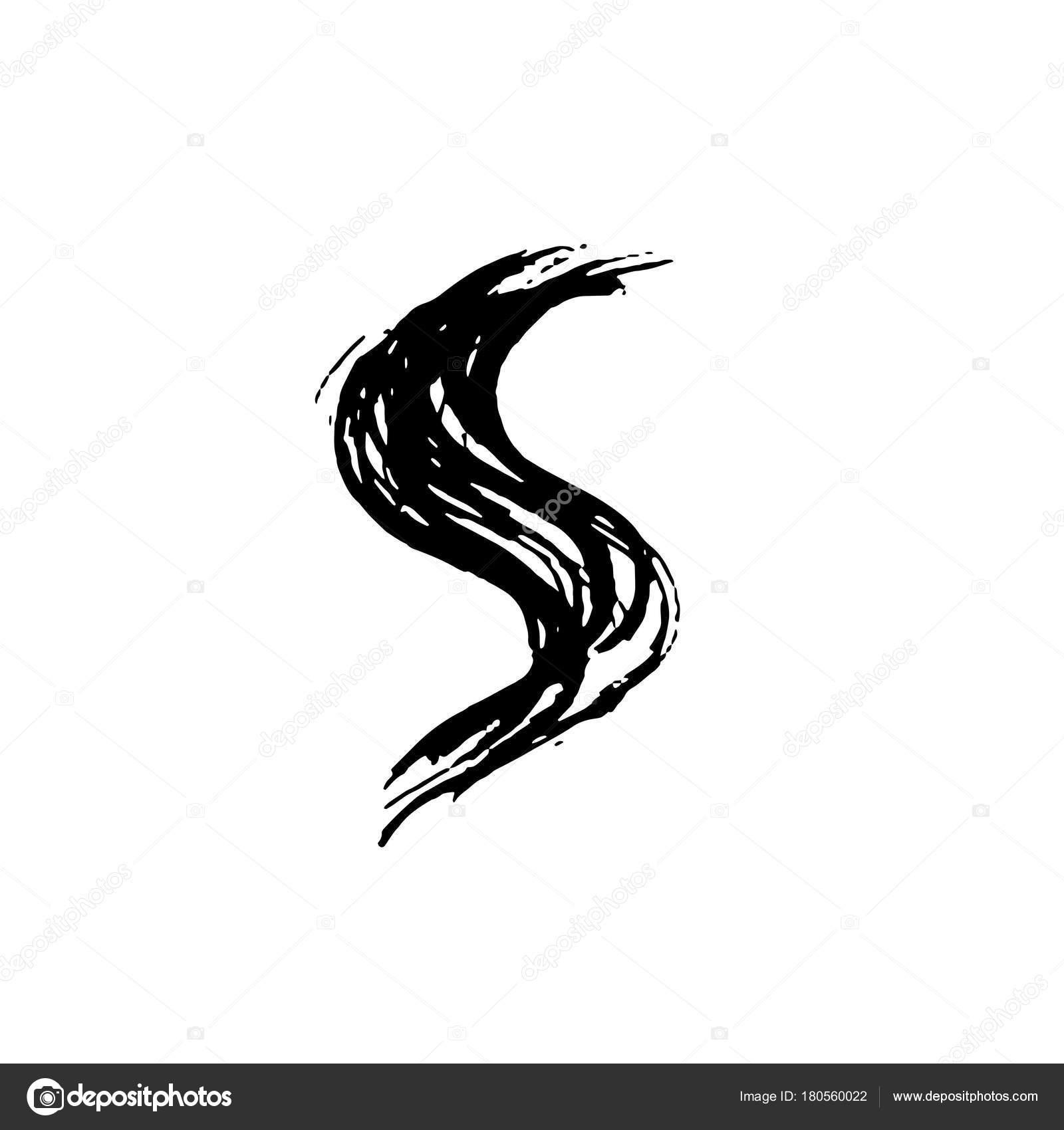 Letter S. Handwrittendry Brush. Rough Strokes Font. Vector  Illustration. Grunge Style Elegant Alphabet. 180560022