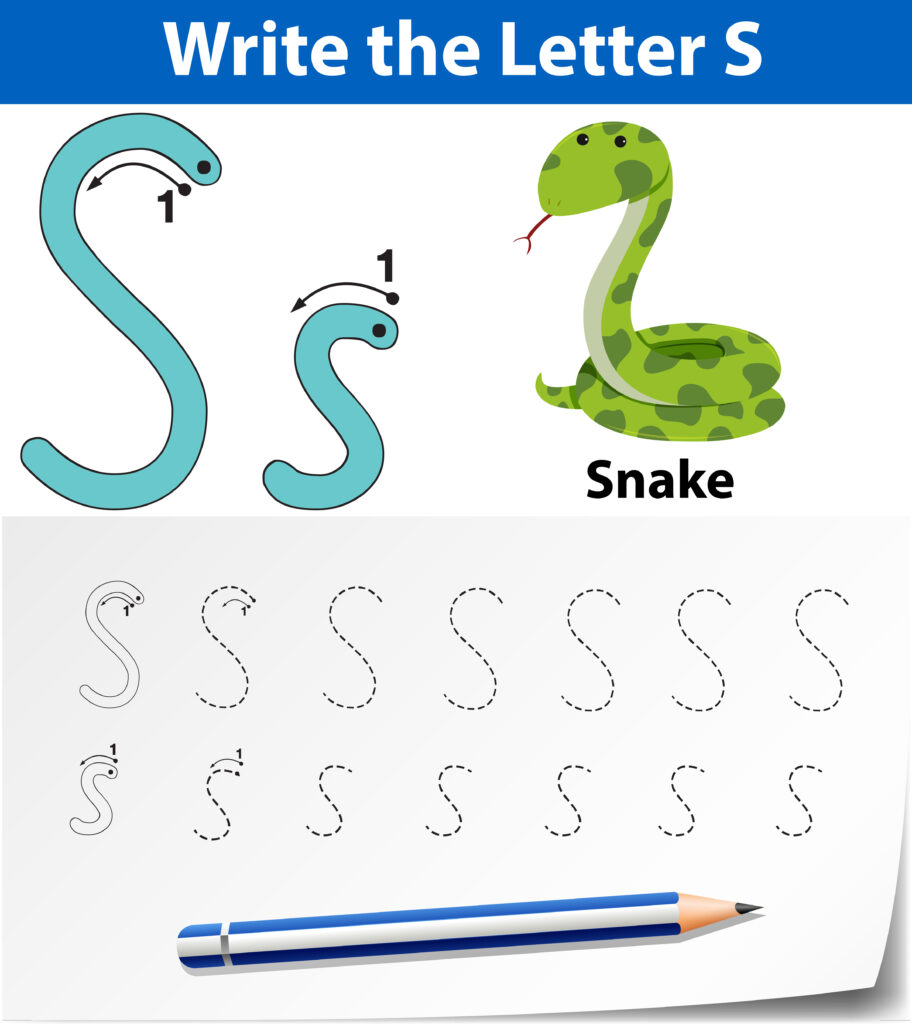 Letter S Tracing Alphabet Worksheets   Download Free Vectors Throughout S Letter Tracing