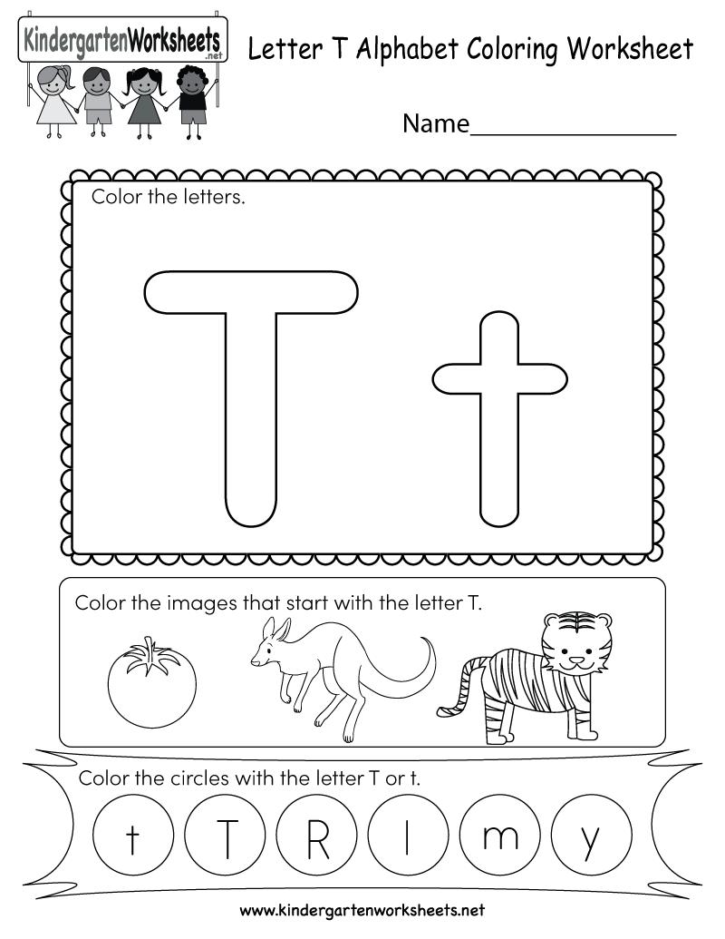 Letter T Coloring Worksheet - Free Kindergarten English regarding Letter T Worksheets Pdf