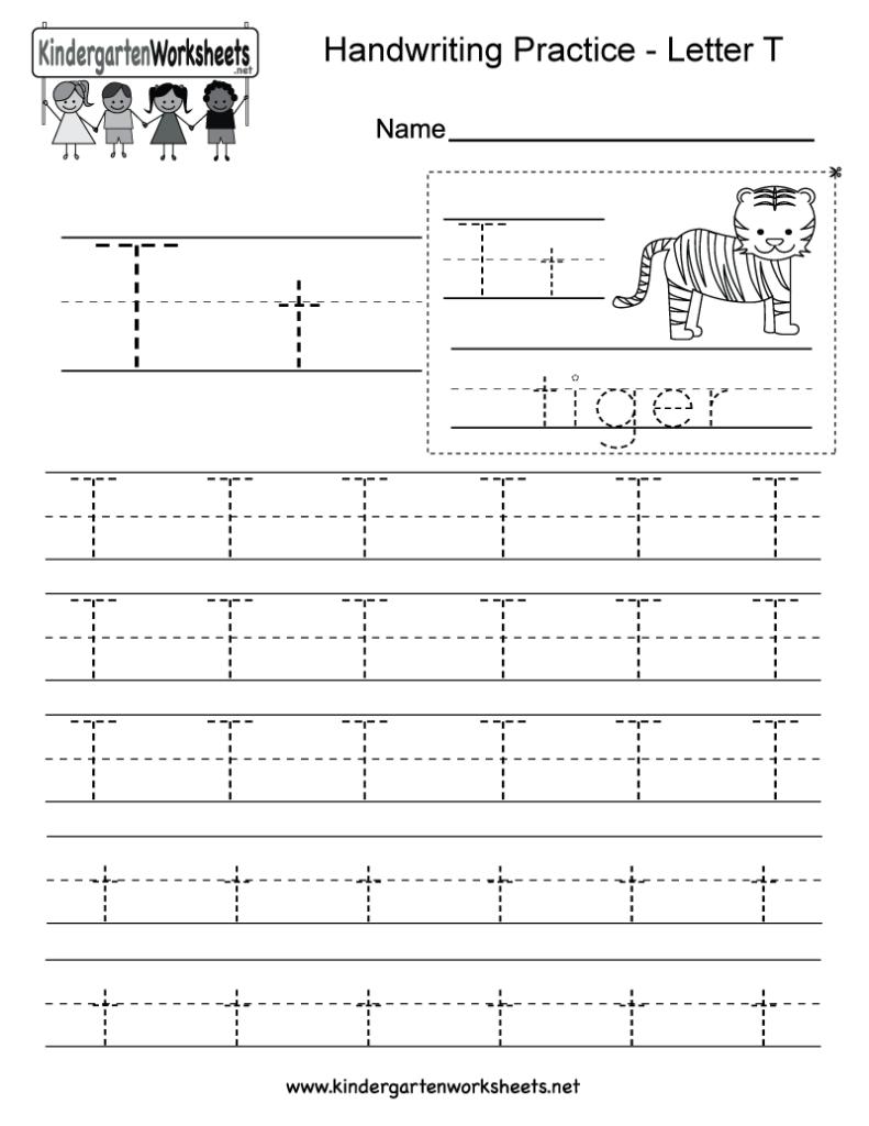 Letter T Writing Practice Worksheet   Free Kindergarten With Letter T Worksheets Pdf