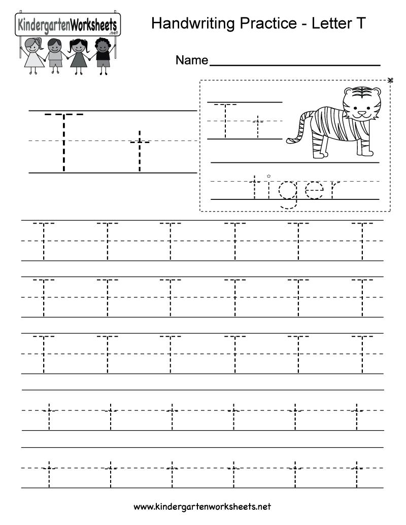 Letter T Writing Practice Worksheet - Free Kindergarten with Letter T Worksheets Pdf