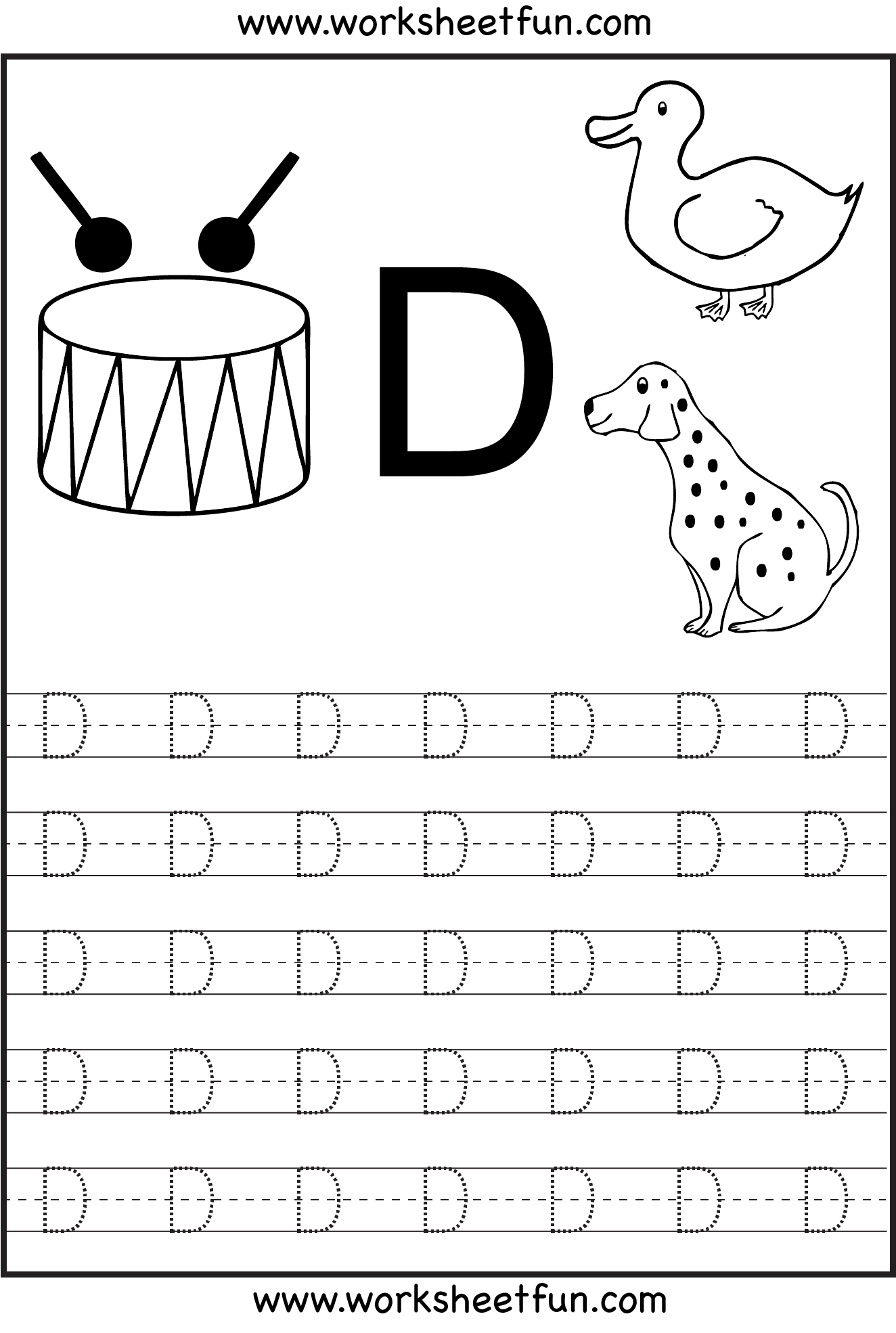 Letter Tracing | Alphabet Tracing Worksheets, Writing intended for Letter Tracing D