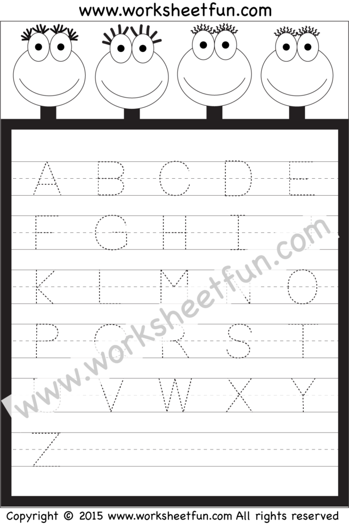 Letter Tracing Worksheet – Capital Letters / Free Printable With Alphabet Tracing Worksheets 1 20 Pdf