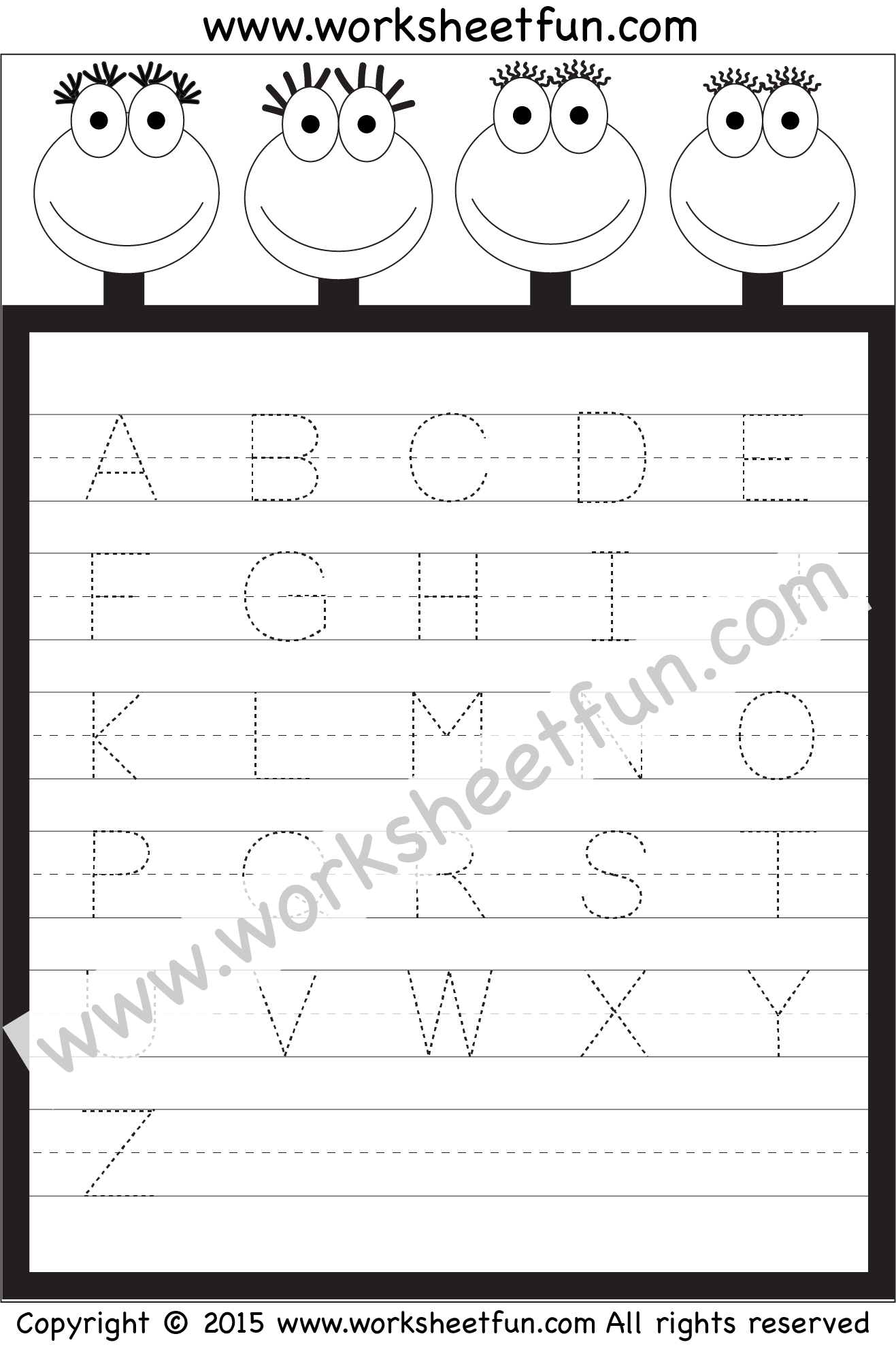 Letter Tracing Worksheet – Capital Letters / Free Printable with Alphabet Tracing Worksheets 1-20 Pdf