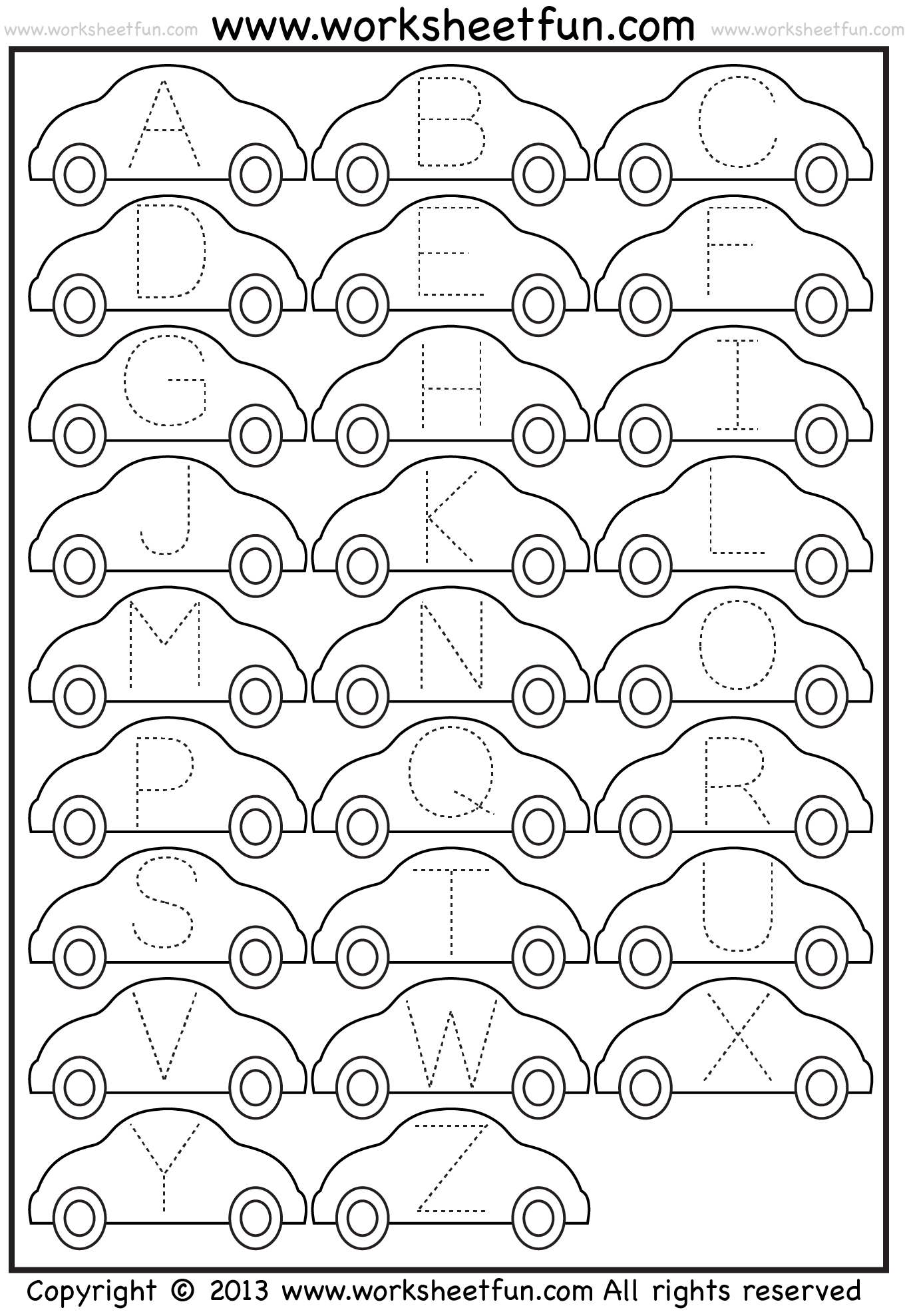 Letter Tracing Worksheet – Car / Free Printable Worksheets