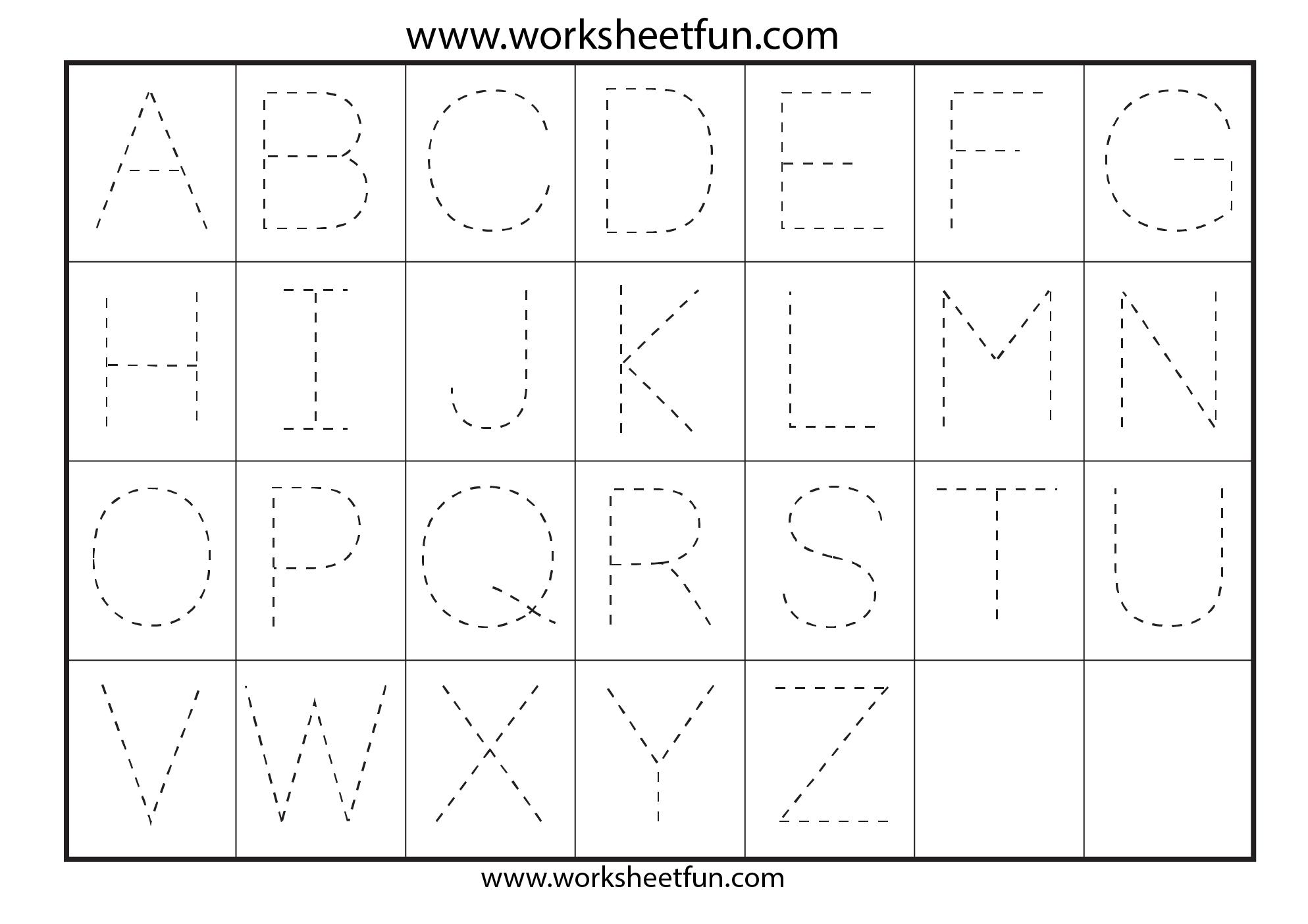 Letter Tracing Worksheets For Kindergarten - Capital Letters for Alphabet Tracing Worksheets 1-20 Pdf