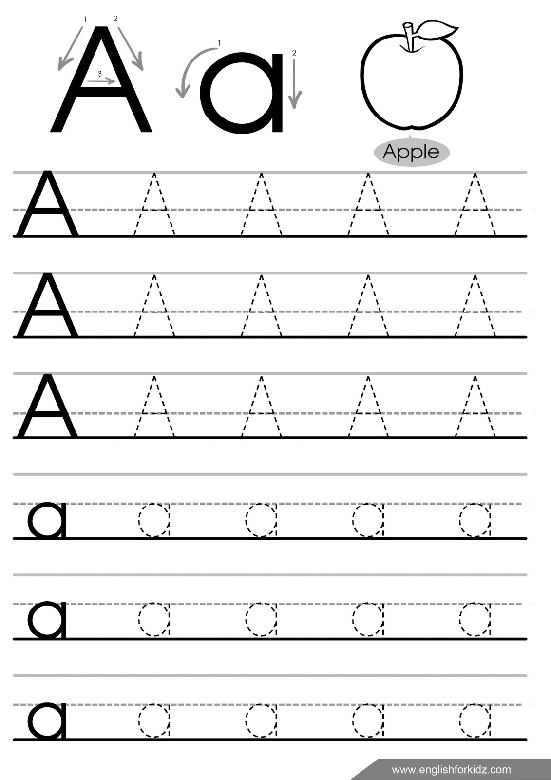 Letter Tracing Worksheets (Letters A - J) for A Letter Tracing