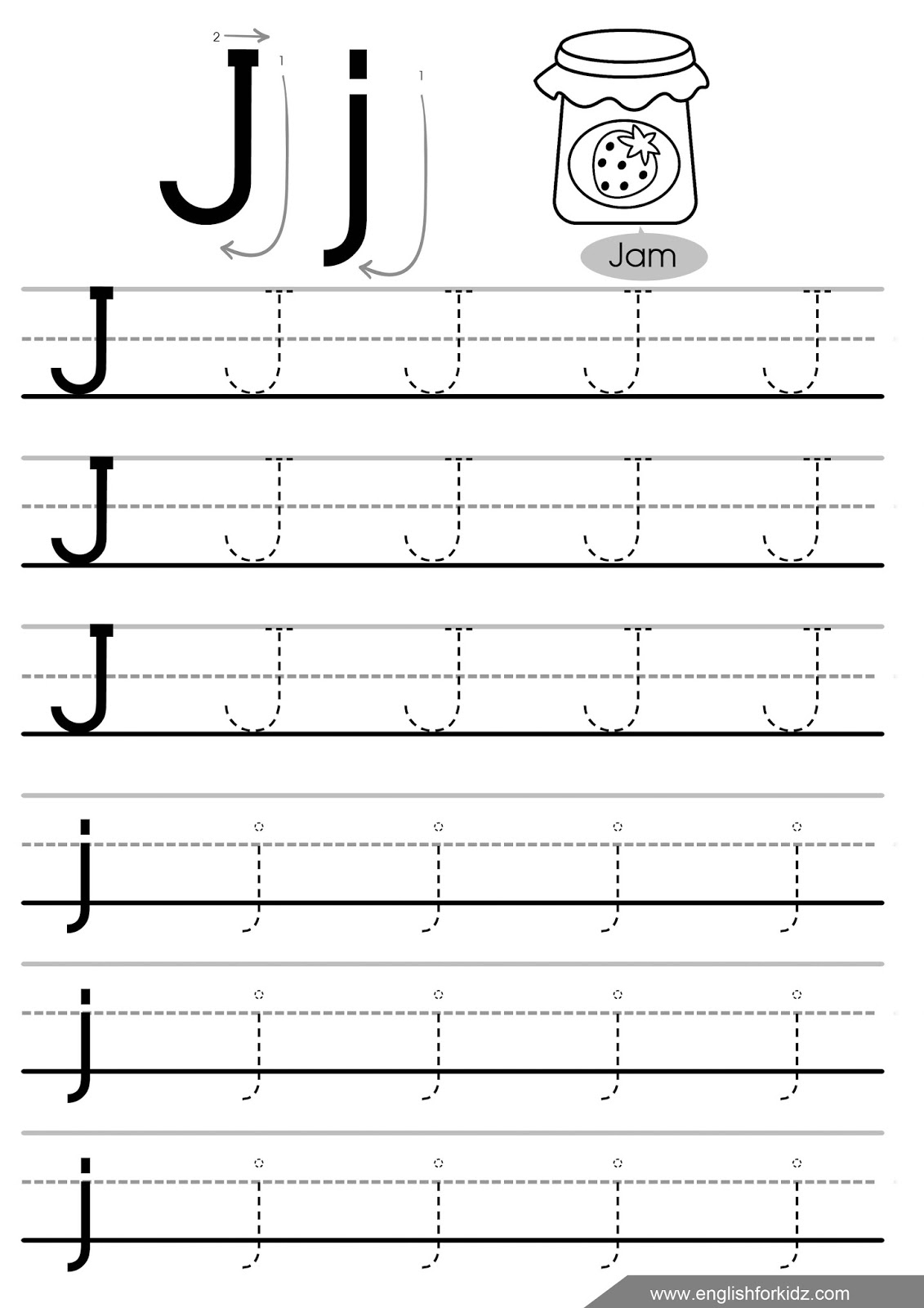 Letter Tracing Worksheets (Letters A - J) in Alphabet J Tracing