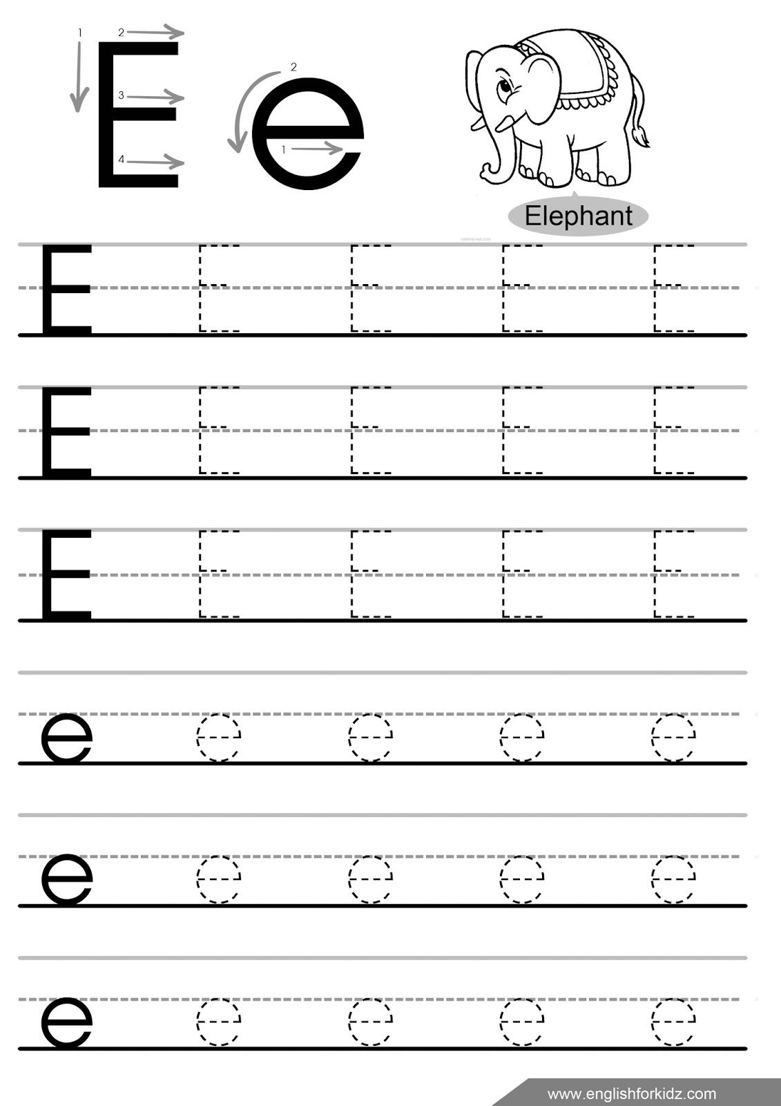Letter Tracing Worksheets Letters A J | Letter Tracing intended for E Letter Tracing