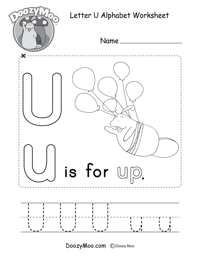 Letter U Alphabet Activity Worksheet   Doozy Moo Intended For Letter U Worksheets