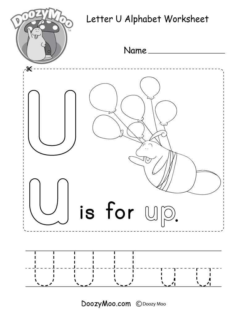 Letter U Alphabet Activity Worksheet - Doozy Moo intended for Letter U Worksheets