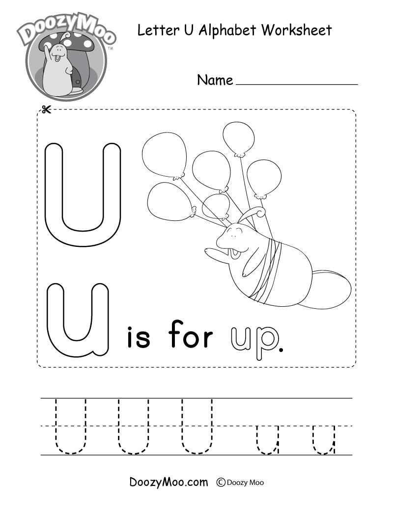 Letter U Alphabet Activity Worksheet - Doozy Moo throughout Letter U Worksheets Pdf