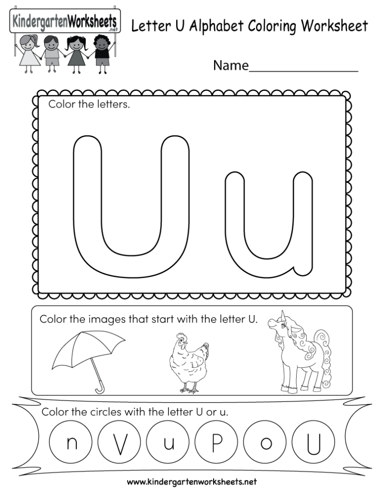 Letter U Coloring Worksheet   Free Kindergarten English Regarding Letter U Worksheets