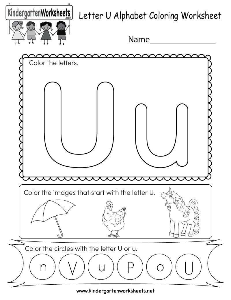 Letter U Coloring Worksheet - Free Kindergarten English with regard to Alphabet Worksheets Pdf For Kindergarten