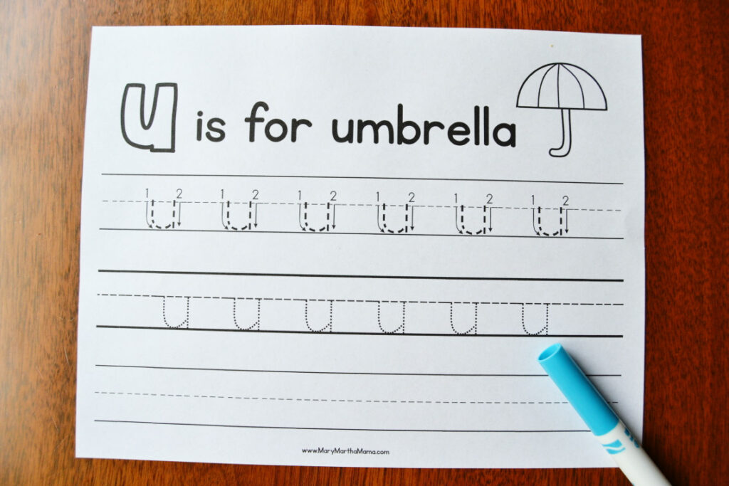 Letter U Tracing Worksheets – Mary Martha Mama Intended For Letter U Tracing Paper