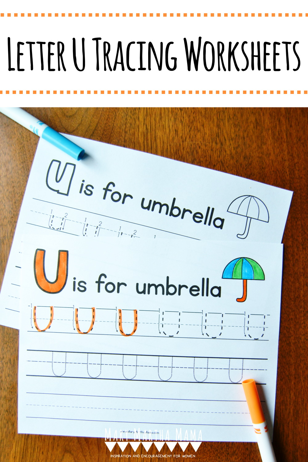 Letter U Tracing Worksheets – Mary Martha Mama with Letter U Tracing Paper