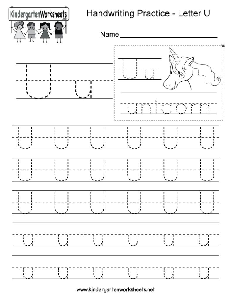 Letter U Writing Practice Worksheet   Free Kindergarten For Letter U Worksheets Printable