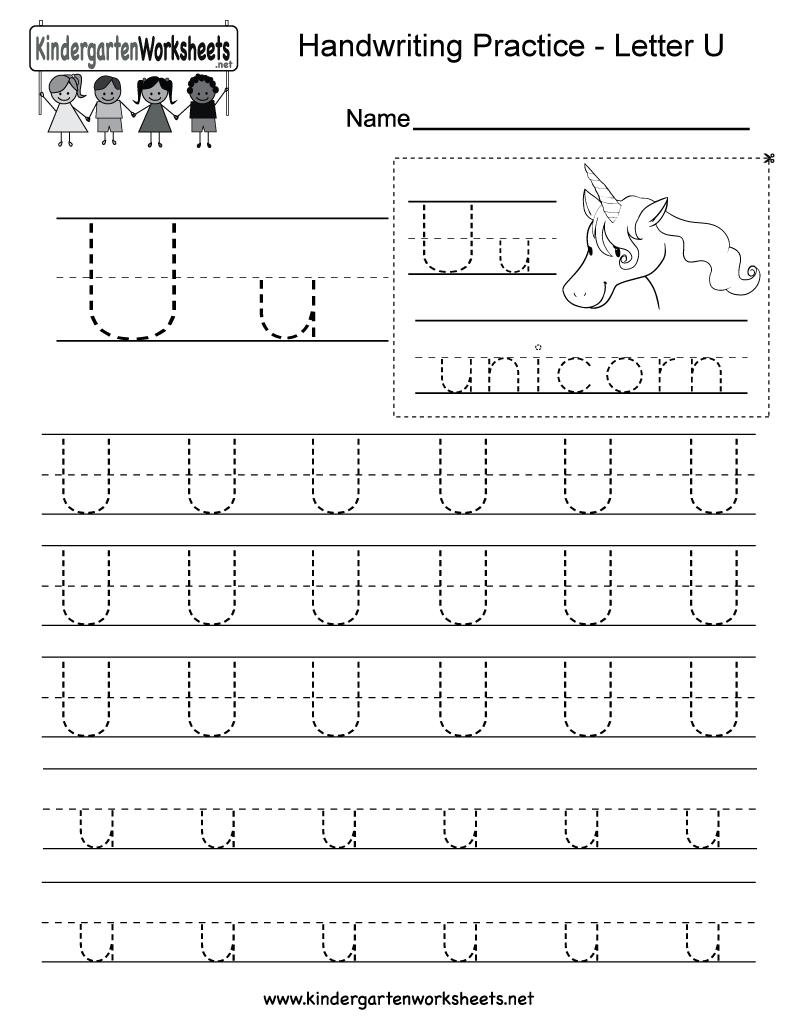 Letter U Writing Practice Worksheet - Free Kindergarten with Letter U Worksheets Pdf