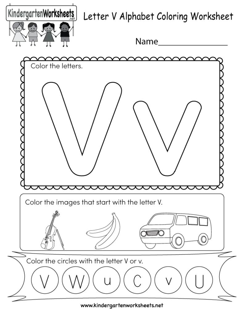Letter V Coloring Worksheet   Free Kindergarten English With Letter V Worksheets Pdf