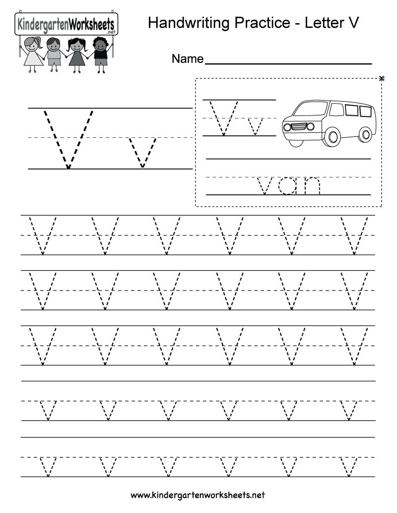 Letter V Handwriting Worksheet For Kindergarteners. You Can in Letter V Tracing Practice