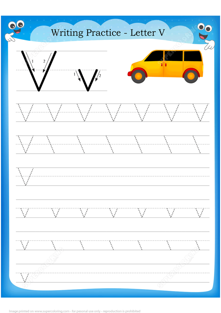 Letter V Is For Van Handwriting Practice Worksheet | Free Throughout Letter V Tracing Practice